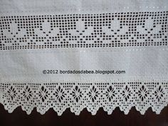 Bordados e afins Crochet Gloves Pattern, Crochet Curtains, Drawn Thread, Filet Crochet, Hand Embroidery, Dream Catcher, Diy And Crafts, Projects To Try, Lace