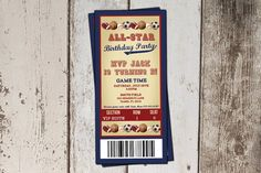 Baseball Ticket Birthday Invitation - All-Star Sports Birthday Party- JPG file - print yourself on Etsy, $8.45