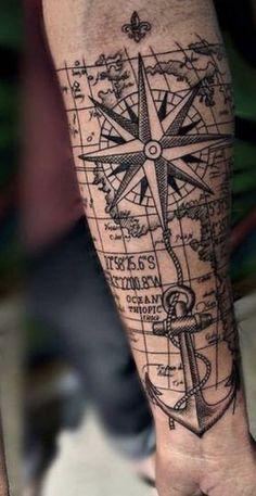 Nautical Tattoo Sleeve, Nautical Star Tattoos, Tree Sleeve Tattoo, Sleeve Tattoos, Wicked Tattoos, Body Art Tattoos, Cr7 Tattoo, Tattoo Design Drawings, Tattoo Designs