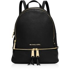 Michael Michael Kors Small Rhea Zip Backpack ($298) ❤ liked on Polyvore featuring bags, backpacks, black, genuine leather backpack, strap backpack, leather zipper backpack, leather knapsack and zipper backpack