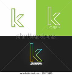 letter K logo alphabet design icon set background