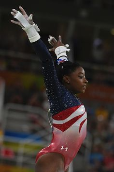 US gymnast Simone Biles during the women's team final Artistic Gymnastics at the Olympic Arena during the Rio 2016 Olympic Games in Rio de Janeiro on. Gymnastics Posters, Gymnastics Team, Gymnastics Pictures, Olympic Gymnastics, Olympic Sports, Gymnastics Leotards, Olympic Games, Amazing Gymnastics, Artistic Gymnastics