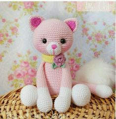 Amigurumi Pink Cat - Amigurumi Pink Cat - Projects to try - . : Amigurumi Pink Cat – Amigurumi Pink Cat – Projects to try – Crochet Crafts, Yarn Crafts, Crochet Toys, Crochet Projects, Crochet Amigurumi, Chat Crochet, Crochet Mignon, Crochet Cat Pattern, Crochet Patterns