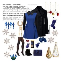 """Blue Christmas"" by chronicallycass ❤ liked on Polyvore featuring Hogan, Wolford, Guerlain, Bobbi Brown Cosmetics, Sole Society, Valentino, Sydney Evan, H&M, Lands' End and WithChic"