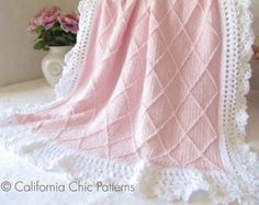 Beautiful Free Baby Blanket Knitting Patterns with Hearts Crochet Heart Blanket Crochet Baby Mittens, Crochet Heart Blanket, Crochet Baby Blanket Beginner, Knitted Baby Blankets, Baby Girl Blankets, Bunny Blanket, Afghan Crochet, Crochet Lace, Pattern Baby
