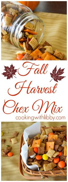 fall party food This Fall Harvest Chex Mix is a wonderful snack! It's a version of Chex mix that has a bit of sweetness and a bit of spiciness to make your fall complete! Fall Snacks, Fall Treats, Holiday Treats, Halloween Treats, Halloween Cupcakes, Fall Snack Mixes, Halloween Party, Party Snacks, Thanksgiving Recipes