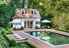 I can't think of a more beautiful spot to relax than this pool area in Buckhead built by the talented team Swimming Pools Backyard, Pool Landscaping, Lap Pools, Indoor Pools, Pool Decks, Outdoor Spaces, Outdoor Living, Pool House Designs, Garden Pavilion