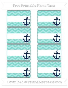 Enjoy this set of cute tiffany blue chevron nautical name tags you can use for parties, labeling things, or as gift tags. These fun name tags are decorated with a colorful pattern and Nautical Names, Nautical Theme Decor, Nautical Design, Coastal Decor, Name Tag Templates, Templates Printable Free, Printables, Chevron Classroom, Classroom Themes