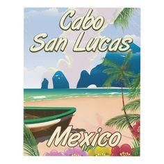 Cabo San Lucas Mexico travel poster Panel Wall Art