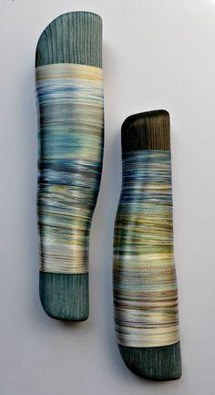 Rolling Rhythms of Tides. Hand-dyed threads. Helena Emmans.