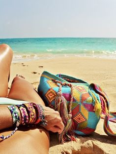 Summer Beach. Patterned Bracelets and Totes. Sand. Weaved And Handmade. #SoleilGlow #GotItFree