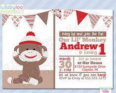 Check out our sock monkey birthday selection for the very best in unique or custom, handmade pieces from our shops. Sock Monkey Party, Sock Monkey Birthday, Monkey Birthday Parties, Happy Birthday, Birthday Boys, Boy Birthday Invitations, Party Invitations, Some Fun, Party Planning