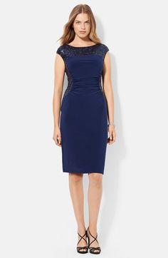 Lauren Ralph Lauren Sequin Panel Matte Jersey Dress (Plus Size) available at #Nordstrom