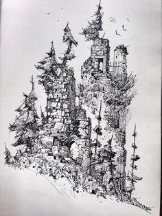 Ian mcque on Art And Illustration, Ink Illustrations, Landscape Drawings, Architecture Drawings, Fantasy Kunst, Fantasy Art, Ink Pen Art, Baba Yaga, Design Poster