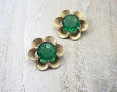 Trifari Emerald Green Flower Earrings.  Stunning statement designer vintage earrings.