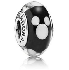 NEW ITEM Pandora Disney Classic Mickey Murano Glass Charm Disney Mickey charm in sterling silver with black and white Murano glass ND-791633 Check out all my Disney charms and bracelets. ships in Pand