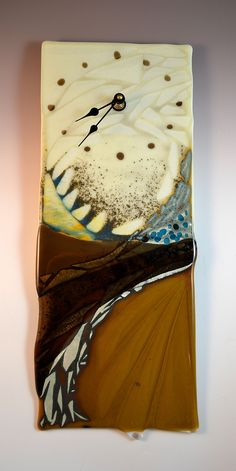 fused glass clocks | Abstract Textured Fused Glass Clock