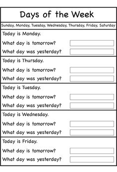 Days of the Week Worksheets is part of English activities - Howdy teachers and parents! These days of the week worksheets are suitable for your beloved kids to learn about day's name and sequence in fun way First Grade Worksheets, 1st Grade Math, Preschool Worksheets, Preschool Learning, Free Printable Kindergarten Worksheets, Calendar Worksheets, Spelling Worksheets, Multiplication Worksheets, Letter Worksheets
