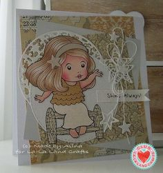 Card by Alina Meijer-Petrescu featuring Club La-La Land Crafts (January 2015) exclusive Shining Star Marci, Star Elements Stamp Set and these Dies - Star Border Die Filigree Moon Die, Filigree Stars Die.   Club La-La Land Crafts subscription details are here - http://lalalandcrafts.com/Club_La-La_Land_Crafts.html    Coloring details and more Design Team inspiration here - http://lalalandcrafts.blogspot.ie/2015/01/club-la-la-land-crafts-january-2015_27.html