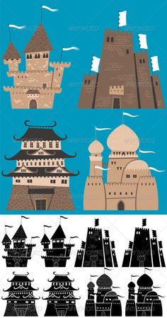 Cartoon Castles  #GraphicRiver         Set of cartoon castles. Silhouette versions are also included. No transparency and gradients used. AI, CDR, EPS, JPEG and PSD files.                     Created: 10 December 13                    Graphics Files Included:   Photoshop PSD #JPG Image #Vector EPS #AI Illustrator                   Layered:   Yes                   Minimum Adobe CS Version:   CS             Tags      ancient #antiquity #arabian #architecture #background #black #building…