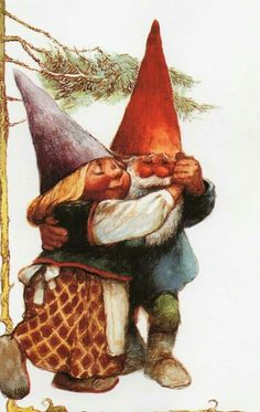 Vintage Art Print by Rien Poortvliet Gnome elf David and Lisa Norman Rockwell, Rockwell Kent, David The Gnome, Humanoid Creatures, Kobold, Gnome House, Vintage Art Prints, Christmas Gnome, Fairy Art