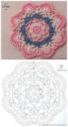 Motif Mandala Crochet, Crochet Circle Pattern, Crochet Mandala Pattern, Crochet Square Patterns, Crochet Circles, Freeform Crochet, Crochet Diagram, Crochet Chart, Crochet Squares