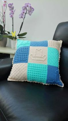 A Last Dance On The Beach (Pillow) Blanket - From The Scheepjes CAL 2016 - In Memory of Marinke (Wink) Slump R.I.P. (Crochet Squares / Afghan / Blanket) Beach Pillow, Beach Blanket, Cal 2016, Crochet Squares Afghan, Last Dance, Afghan Blanket, Sewing Pillows, Yarn Crafts, Free Pattern