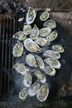 // roasted oysters with stinging nettle butter