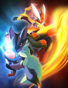 Mega Blaziken and Mega Lucario Pokemon by suzuran.deviantart.com on @deviantART