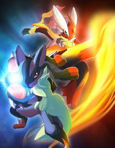 Mega Pokemons  by suzuran.deviantart.com on @deviantART [mega lucario,and mega blaziken]
