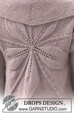 """Saco DROPS tejido en un círculo en """"Nepal"""", con patrón de hojas. Talla S a XXXL. ~ DROPS Design"""