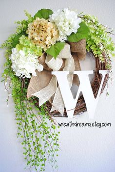 Antique White Hydrangea Grapevine Wreath with by WreathDreams