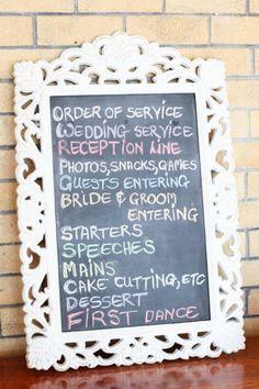 White Ornate Chalkboard Frame - For hire Natural Nostalgia (midlands KZN) Line Photo, Framed Chalkboard, First Dance, Decorative Items, Bride Groom, Nostalgia, Reception, Creative, Wedding Ideas