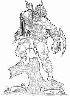 predator vs jason coloring pages - photo#25