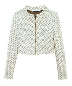 White Quilted JacketThis jacket is a wonderful find!  You can wear it zipped up alone or with many different tops for a variety of looks!  It can be paired with a plain shell or T-shirt — or a fancy frilly blouse with a big bow — all depending on your mood or the look you want!  Pair it with the matching pencil skirt for a classy, flattering look that can go anywhere!