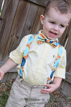 DIY baby boy suspenders and matching bow tie... one could DIE from this much cuteness.