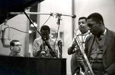 Bill Evans, Miles Davis, Julian Adderly and John Coltrane at the Kind of Blue session, 1959