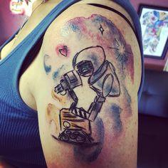 Wall-e and Eve watercolor tattoo, Disney Tattoo