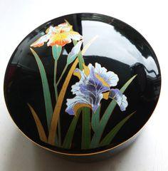 Items similar to Otagiri Japan // Crown Iris // Trinket box //porcelain trinket box // Japanese porcelain // Black porcelain on Etsy Trinket Boxes, Iris, My Etsy Shop, Crown, Plates, Japan, Unique Jewelry, Tableware, Handmade Gifts