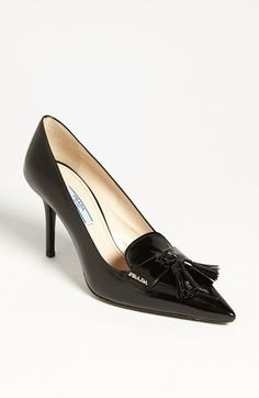 Prada Pointed Toe Tassel Pump