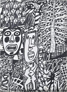 DUBUFFET Jean - Situation 88 - avec arbre et  oiseau  (I rather think he was present at the beginning of Zentangles - it's nothing NEW)