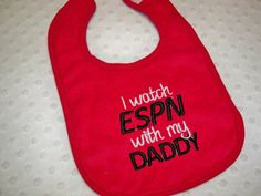 Sports Bib - I watch ESPN with my Daddy - Baby Bib Baby Boy Red Bib Embroidered in Black and White - Baby Boy Football Baseball Basketball on Etsy, $7.50