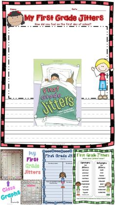 *Updated July 2016* This First Grade Jitters packet is great to use, along with the book, on the first day and the first weeks of school. This back to school packet contains many fun and engaging activities to help you teach several of the Common Core Lit First Grade Books, Teaching First Grade, First Grade Classroom, Teaching Writing, Writing Activities, Teaching Tools, Back To School Night, First Day School, Welcome Back To School