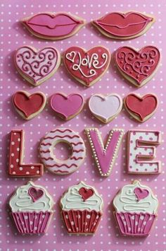 Valentine cookies using letter cookie cutters and heart cookie cutters Cookies Cupcake, Fancy Cookies, Heart Cookies, Iced Cookies, Cute Cookies, Cookies Et Biscuits, Sugar Cookies, Cookie Favors, Flower Cookies