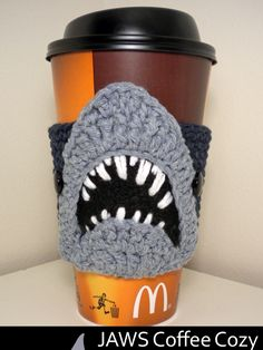 JAWS Coffee Cozy Crochet Pattern (I wish I was good enough at crocheting to just copy this. So cool!)