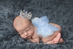 Singing Softly Baby Boy Blue Angel Wings with by NestofManyColors, $20.00