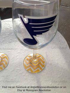 Set of 2 St. Louis Blues Inspired Wine Glass Chevron Bottom STL Bleed Blue on Etsy, $20.00