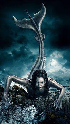 """Wallpaper for """"Siren"""" Mermaid Artwork, Mermaid Drawings, Mermaid Tattoos, Mythological Creatures, Mythical Creatures, Sea Creatures, Dark Mermaid, Siren Mermaid, Evil Mermaids"""