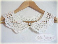 Handmade Crocheted Collar by Cute Overdose Crochet Baby Dress Free Pattern, Crochet Collar Pattern, Col Crochet, Crochet Lace Collar, Crochet T Shirts, Knitting Patterns, Crochet Patterns, Diy Crafts Crochet, Knitted Poncho