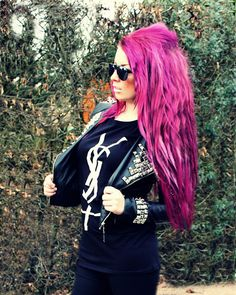 ! * YULIE KENDRA´S LIFE * !: OOTD Be a Rockstar ;-) // Wochenende & Promi Boxen ! Leather jacket studded rivet spike ysl sunglasses pink purple hair pinkhair purplehair blogger fashion trend blog